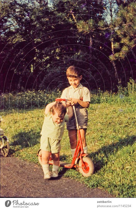 Brüder und Roller Mensch Kind Natur Landschaft Wege & Pfade Spielen Familie & Verwandtschaft Mode Paar Park stehen paarweise Textfreiraum Baby Hilfsbereitschaft
