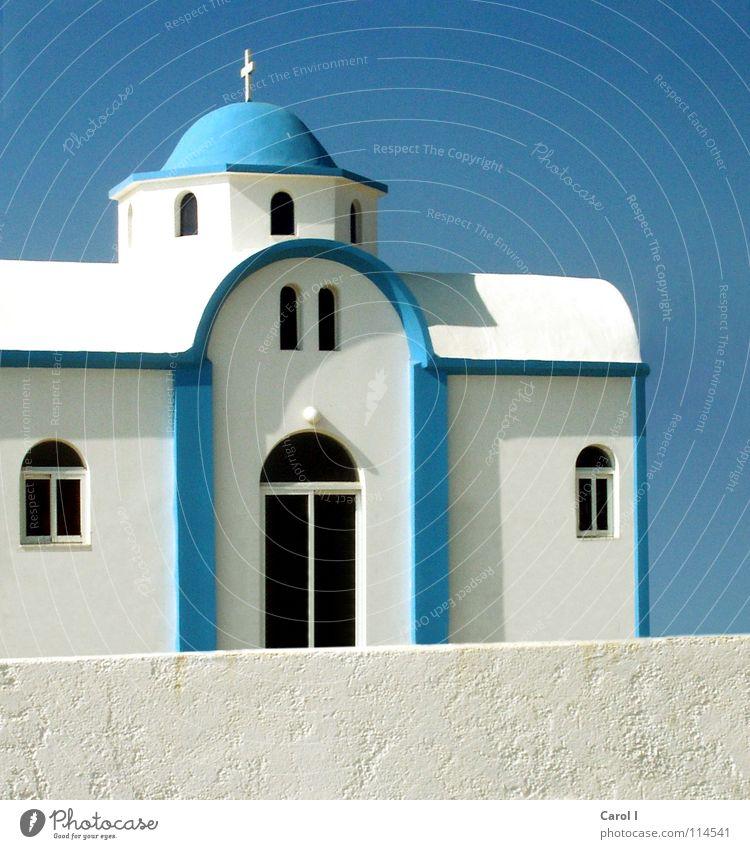 Greece Himmel weiß blau schwarz Fenster Mauer Gebäude Religion & Glaube Kunst Tür Rücken Macht Insel Romantik Dach Turm