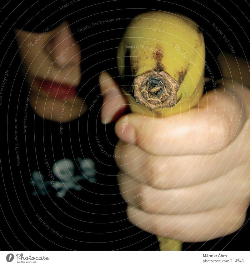 Bananza. Banane schießen Pistole Gewehr drohen Kapitalwirtschaft töten gelb schwarz Panik erschießen Aktion Bildart & Bildgenre Symbole & Metaphern keine Ahnung