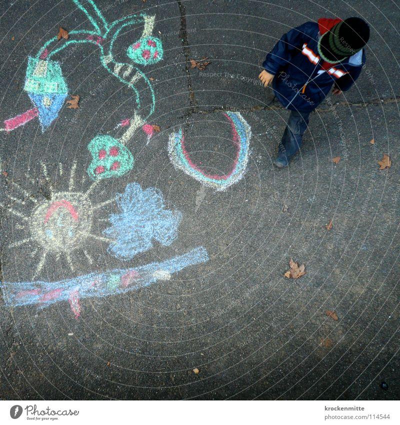 Paradise Lost Kind Farbe Straße Spielen Junge streichen Asphalt Kleinkind Gemälde Kreide Paradies Regenbogen Zeichnung Pastellton Strassenmalerei Kreidezeichnung