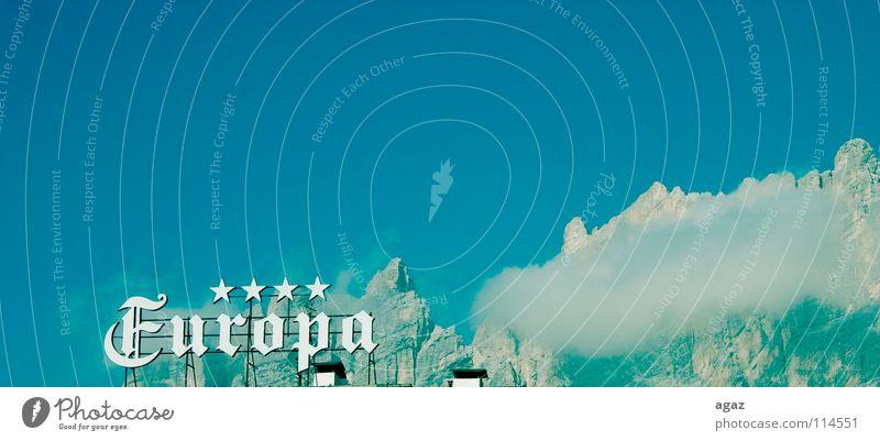 Europa Schweiz Wolken Hotel 4 Text Winter retten blau hoch oben auf dem Berge u. Gebirge Stern (Symbol) Lied Ferien & Urlaub & Reisen übernachtn Entwurf