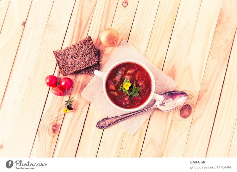 Hunger? Lebensmittel Fleisch Gemüse Brot Suppe Eintopf Zwiebel Tomate Gulasch Ernährung Mittagessen Abendessen Büffet Brunch Bioprodukte Geschirr