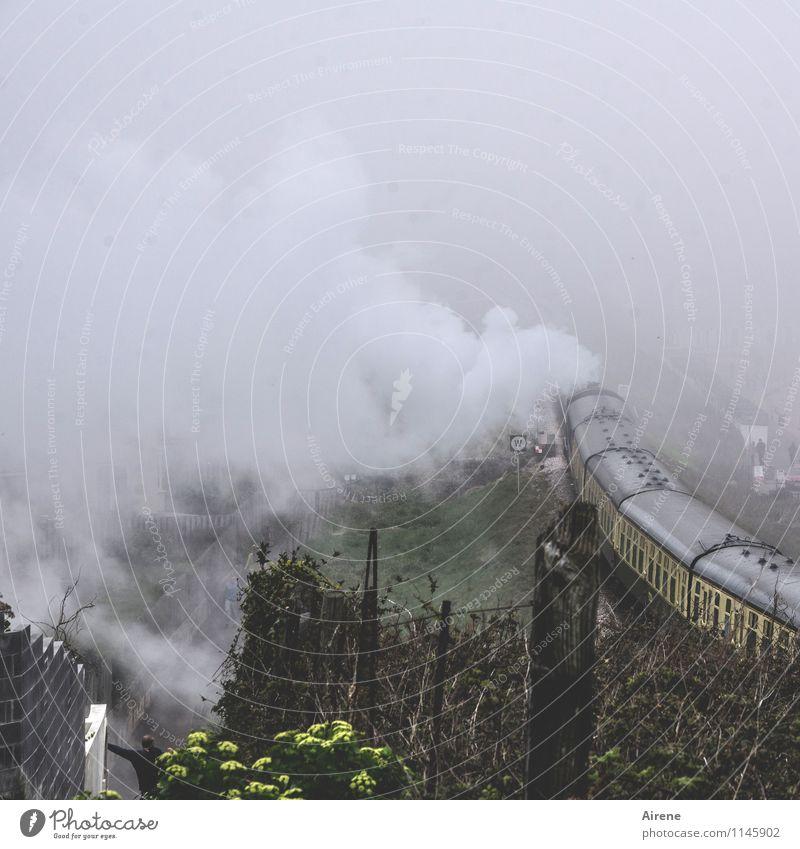 abdampfen Wolken schlechtes Wetter Nebel Personenverkehr Bahnfahren Schienenverkehr Eisenbahn Lokomotive Dampflokomotive Personenzug Bahnhof Bahnsteig