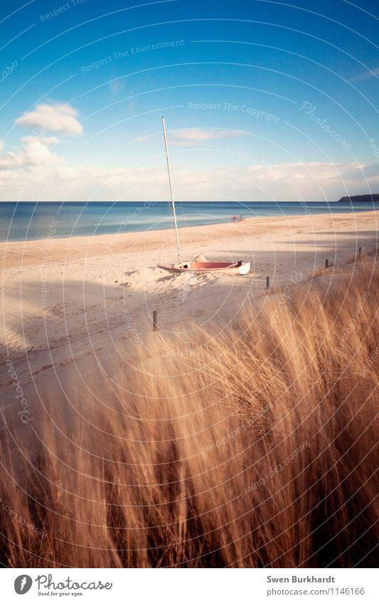 Gestrandet Natur Ferien & Urlaub & Reisen blau Sommer Sonne Meer ruhig Strand Ferne gelb Küste Horizont liegen Tourismus Wellen Insel