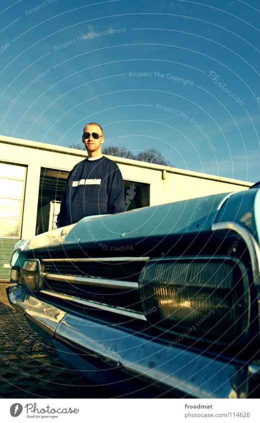 KING KLIK vs Manta Himmel blau PKW retro Scheinwerfer Oldtimer Autoscheinwerfer kultig Fahrer Autofahrer Sammlerstück Kühlergrill Mantafahrer