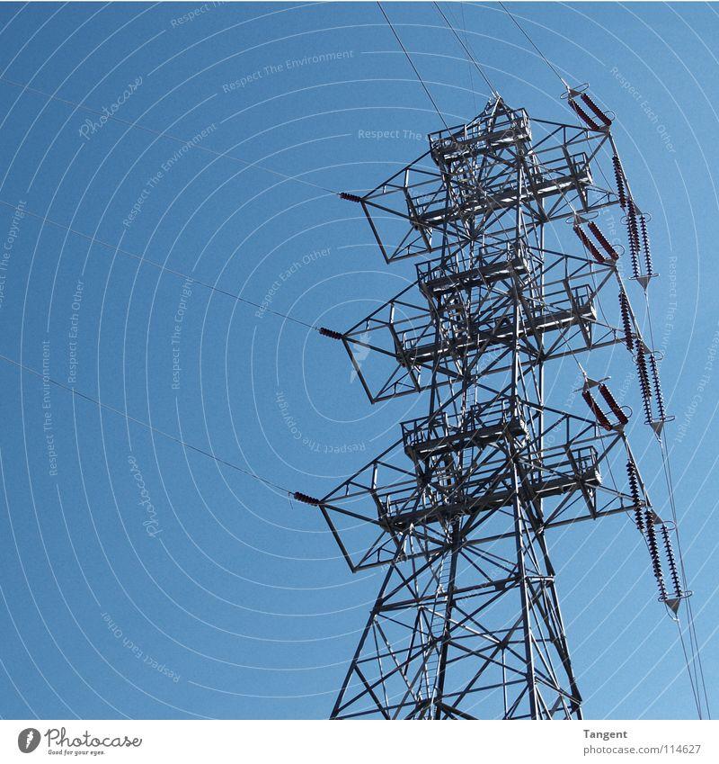 Spidermast Elektrizität elektrisch Stahl Strommast Stab Hoover Dam Dienstleistungsgewerbe Industrie Energiewirtschaft Himmel Schönes Wetter blau Kabel Gestaenge