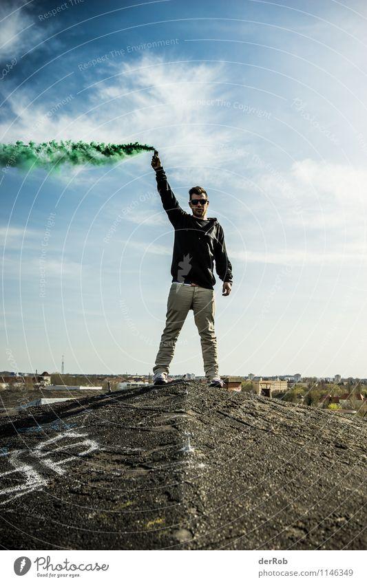 viel Rauch um nichts Mensch Himmel Jugendliche Mann Landschaft Wolken 18-30 Jahre Erwachsene Frühling Kunst Horizont maskulin Luft Körper Wind stehen