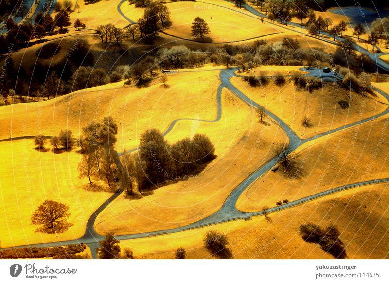 Munich Mountain Infrarotaufnahme Farbinfrarot Hügel München Wiese gelb blau-grau Olympiaberg Olympiapark Park Langzeitbelichtung Channelshifting Kanalmixer