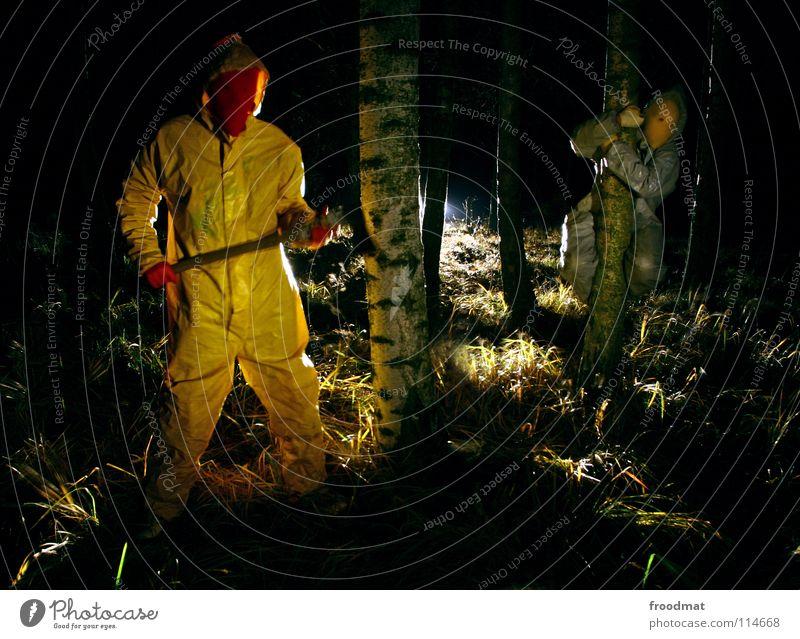 graugelb™ - ach wie gut, dass niemand weiss Baum gelb Wald grau Angst Deutschland Elektrizität Sträucher Maske gruselig Surrealismus Geäst Cottbus Birke grauenvoll Taschenlampe