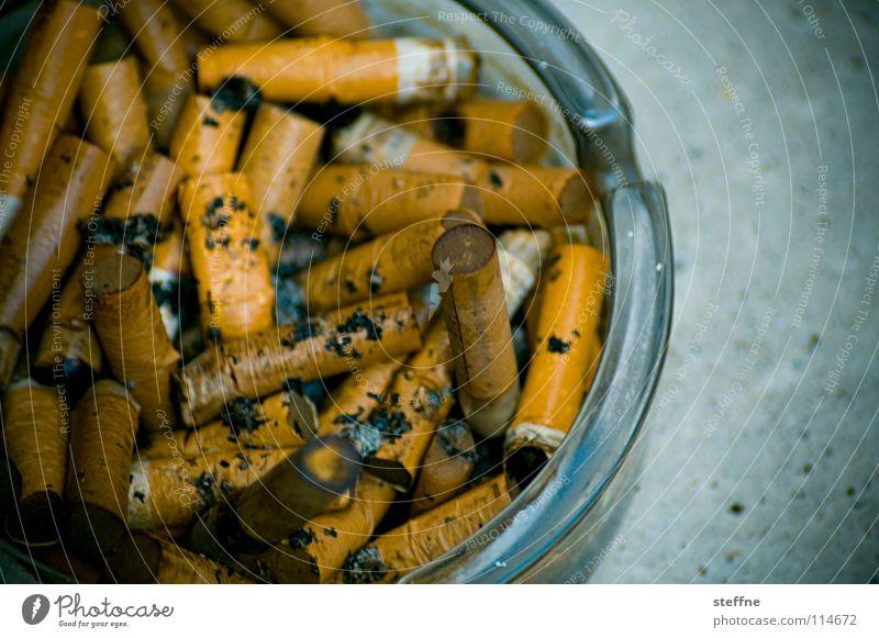 Wie nach dem Sex Aschenbecher Zigarette Nikotin Lunge vergiftet dreckig ausgedrückt gelb Ocker weiß Balkon aufräumen Reinigen Müll Rauchen grau Ekel ruhig braun