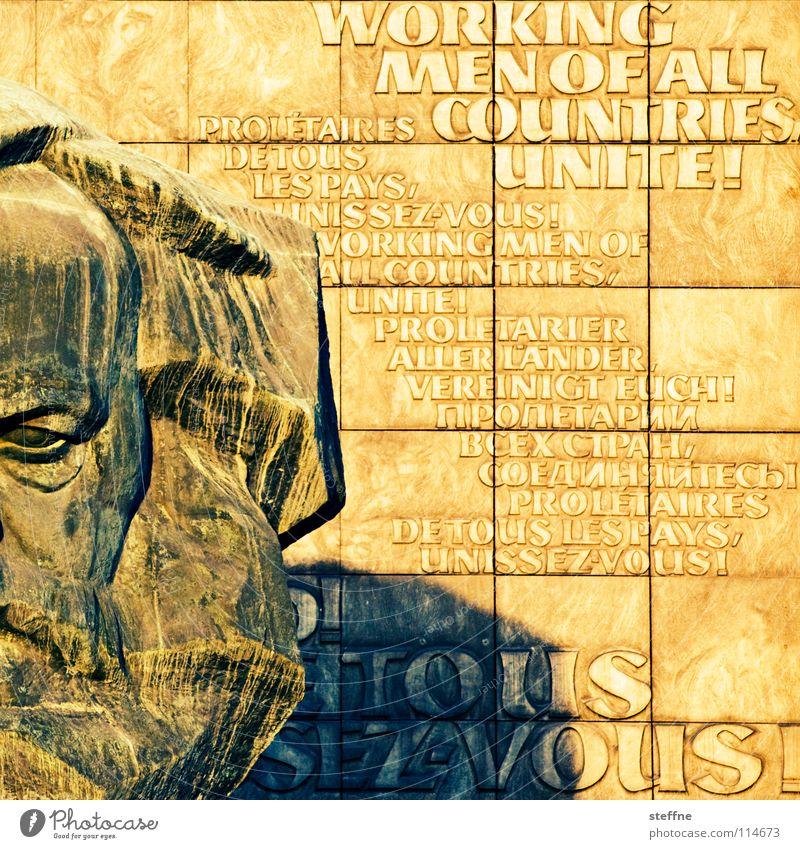 HARD WORKING Mann rot schwarz Arbeit & Erwerbstätigkeit Kopf grau Kunst Deutschland Denkmal Vergangenheit Statue Wahrzeichen DDR Russland links Osten