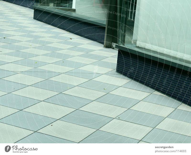 kleinkarierter leerstand Durchgang Raum Fliesen u. Kacheln Muster weiß-blau Quadrat Fenster Schaufenster Eingang Zugang Vorhang Jalousie Bodenbelag