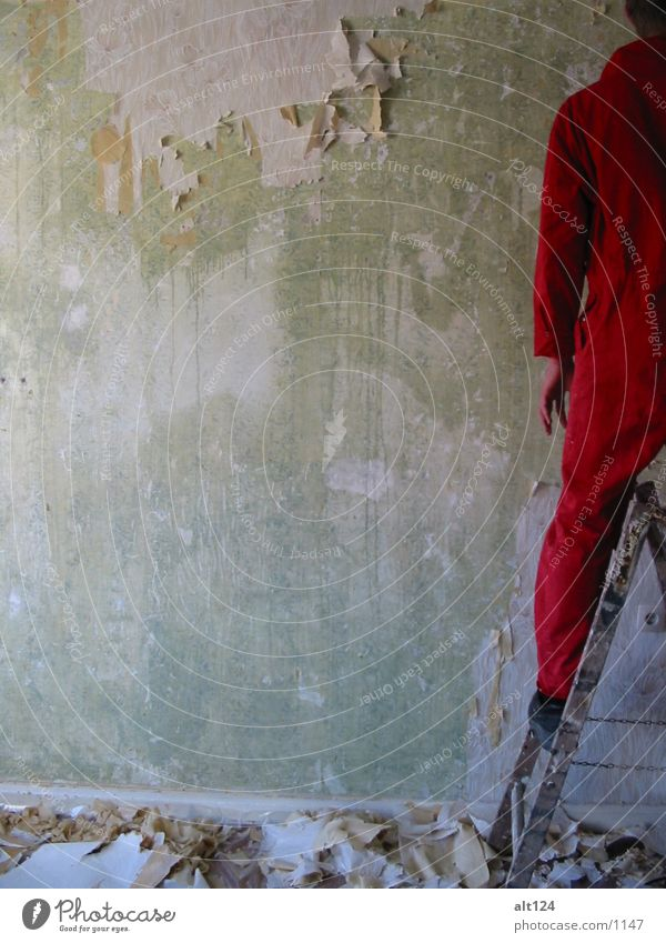 under_construction Arbeit & Erwerbstätigkeit Wand rot Stil Fototechnik Leiter
