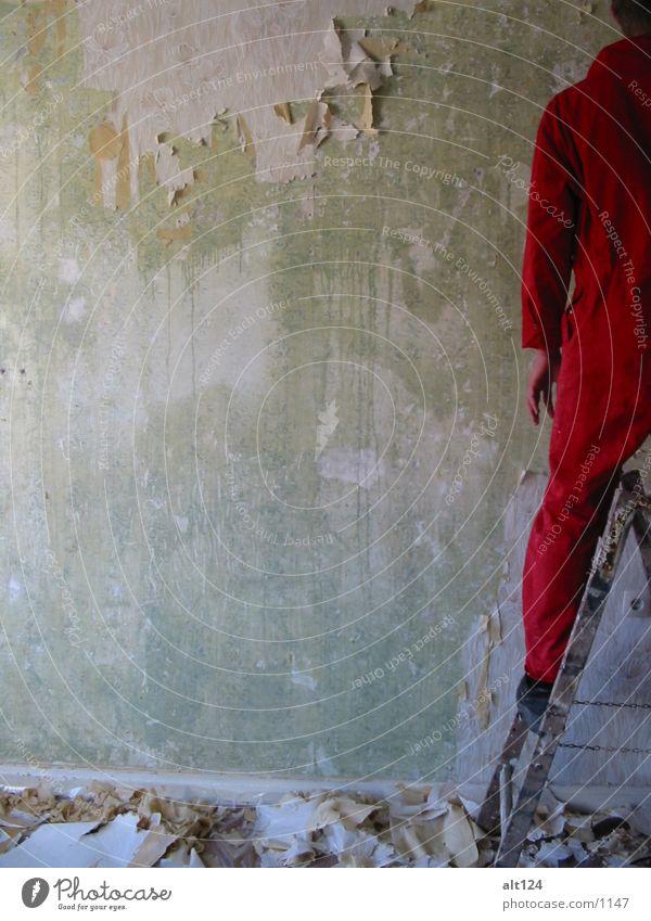under_construction rot Arbeit & Erwerbstätigkeit Wand Stil Leiter Fototechnik
