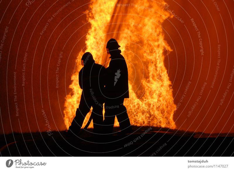 Feuerwehrmänner bei der Arbeit Mann Erwachsene hoch Brand Sicherheit Beruf heiß Feuerwehrmann Schlauch Öffentlich Waldbrand Löschschlauch