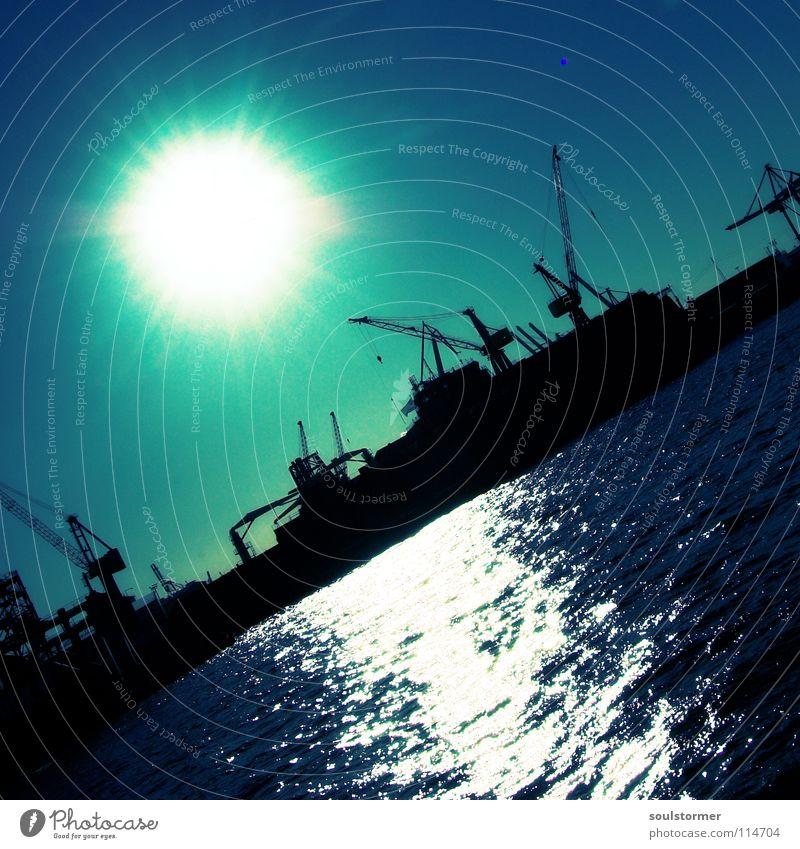 Let the sun shine... Himmel blau weiß Wolken schwarz oben Wasserfahrzeug Arbeit & Erwerbstätigkeit hoch Hamburg mehrere Industrie Hafen viele aufwärts Gewicht