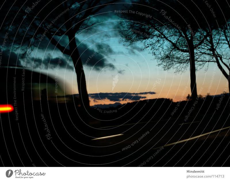 Twilight near ODB [reloaded] Himmel blau grün Farbe Baum rot Wolken Winter dunkel Straße Herbst Beleuchtung Lampe hell Regen orange