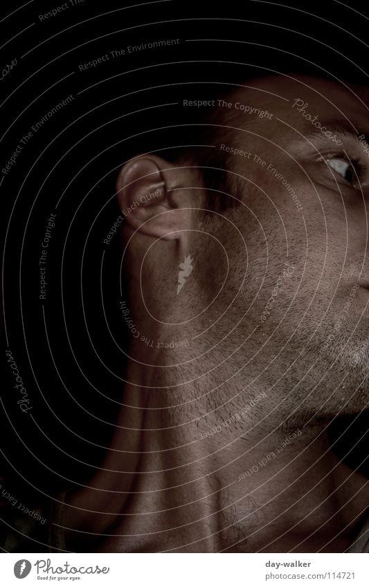 Halsgewinde II (Farbig) Bart dunkel schwarz weiß Wange Silhouette nah Kehlkopf Mundwinkel Stimmung Mann Haut man Mensch Stoppel Gesicht Sehne Schatten