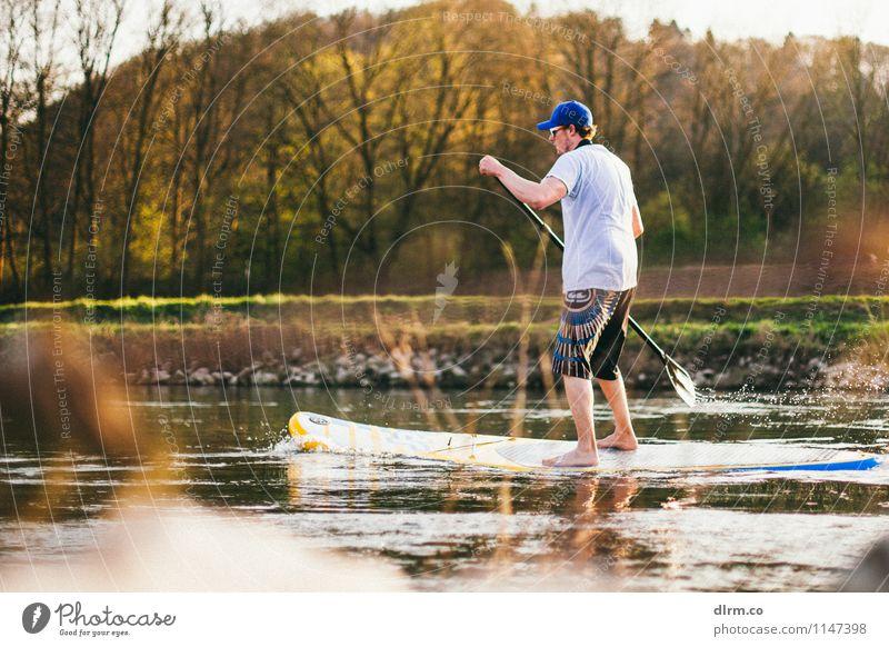 SUP auf der Ruhr Lifestyle Freizeit & Hobby Ferien & Urlaub & Reisen Abenteuer Freiheit Sport Wassersport Standup Paddling Mensch maskulin Leben 18-30 Jahre