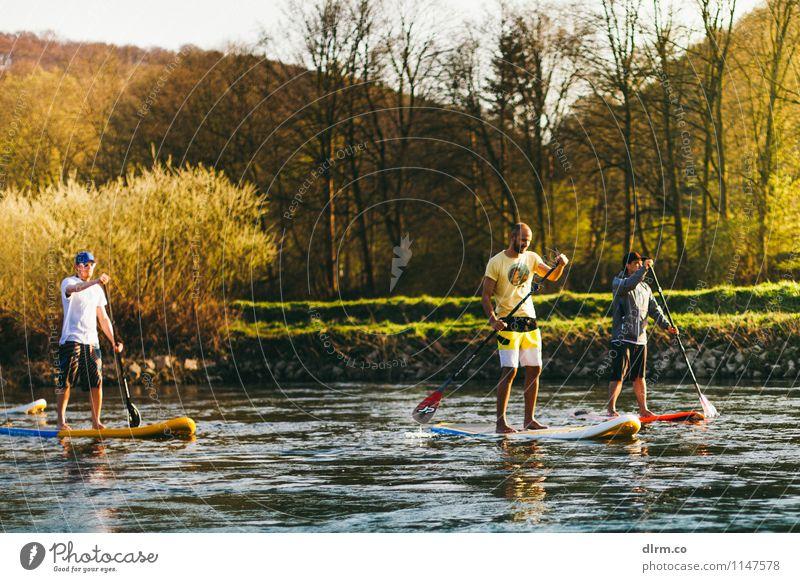 SUP auf der Ruhr Mensch Natur Jugendliche Sommer Wasser Sonne 18-30 Jahre Erwachsene Frühling Sport Gesundheit Menschengruppe Lifestyle Freundschaft maskulin