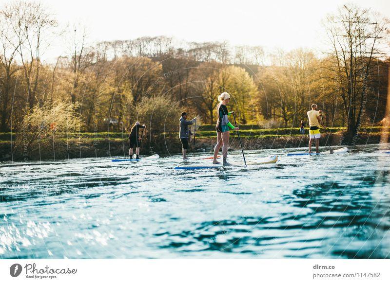 SUP Gruppe Lifestyle Freizeit & Hobby Abenteuer Sport Fitness Sport-Training Stand Up Paddling Mensch Freundschaft 4 18-30 Jahre Jugendliche Erwachsene