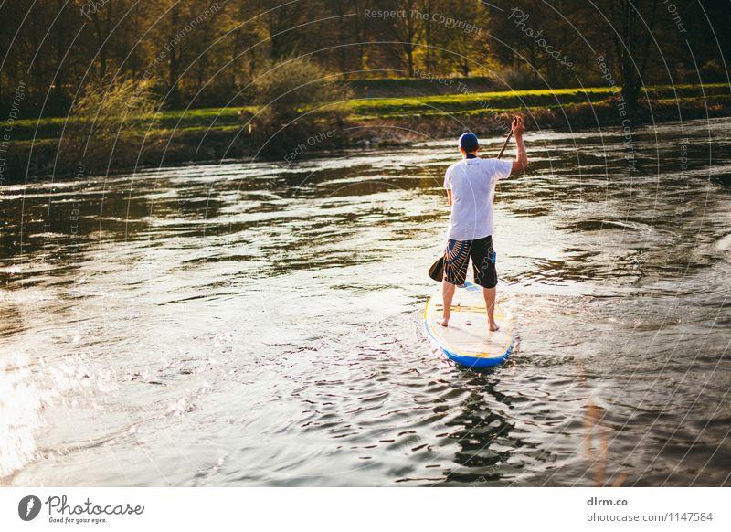 Standuppaddling SUP im Ruhrgebiet Mensch Natur Jugendliche Sommer Wasser Sonne Erholung ruhig Freude 18-30 Jahre Erwachsene Leben Sport Freiheit Lifestyle Freundschaft