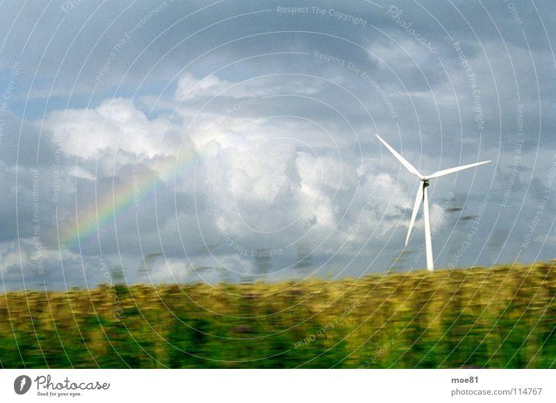 Rapsfahrt Sommer Wolken Energiewirtschaft Elektrizität Windkraftanlage Landwirtschaft Ostsee ökologisch Regenbogen Erneuerbare Energie