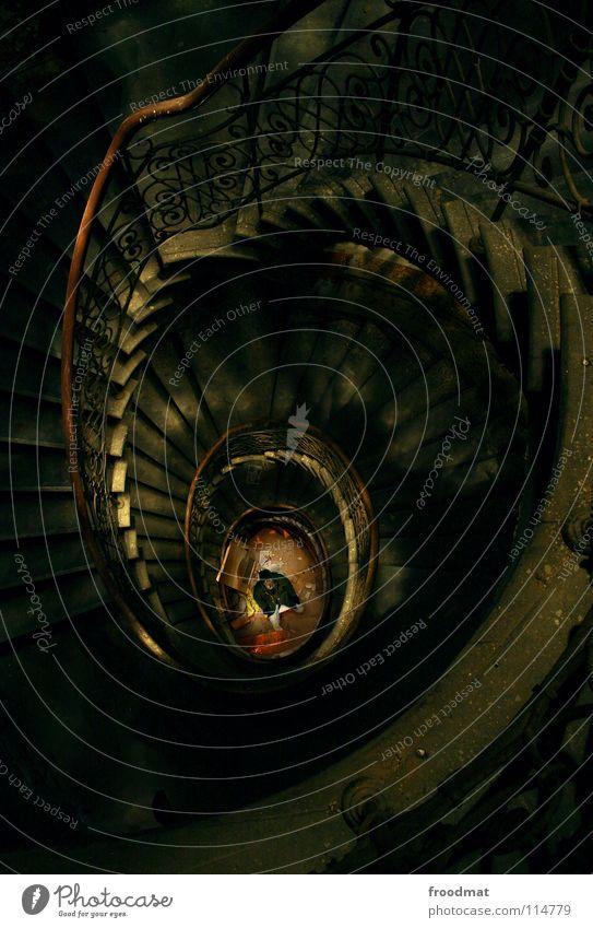 spiral staircase - revisited alt dunkel Stein Kunst braun Treppe geheimnisvoll Geländer Maske verfallen gruselig tief Geister u. Gespenster obskur Surrealismus
