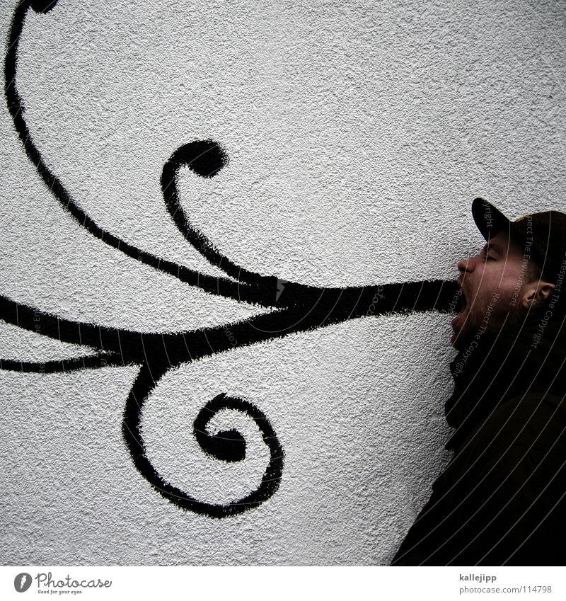 poesie Mensch Mann Farbe Graffiti Wand sprechen Linie geschlossen Mund Kreis Dekoration & Verzierung streichen Zeichen Mitte Gemälde Mütze