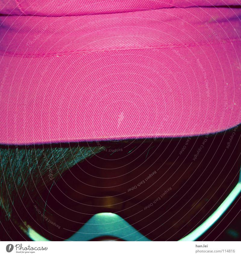 Strange 2 schön Haare & Frisuren Brille Mütze lustig verrückt grün rosa seltsam Schneebrille strange Schibrille falschrum Kapuze Self rosarote Brille Farbfoto