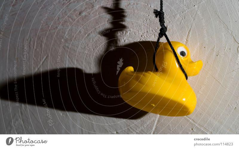 suizidquitschientchen hängen Selbstmord Trauer gelb Ente Tod Schatten Schnur Traurigkeit Badeente Ende erhängen