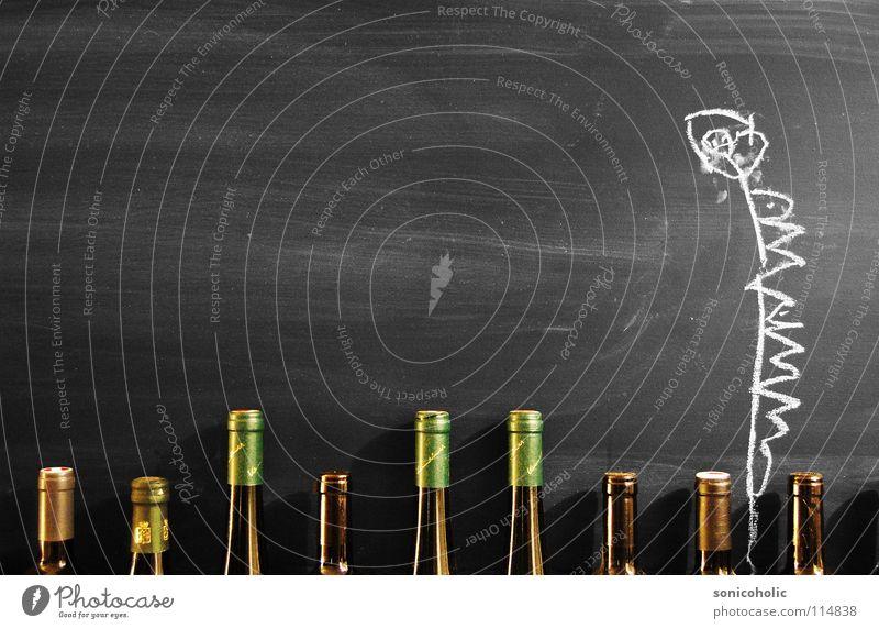 Fein tafeln Tafel Gemälde Wachstum Reifezeit Korken Weinflasche Blume Alkohol Flasche Zeichnung Kreide kreidezeichnung Die Korken knallen lassen Partystimmung