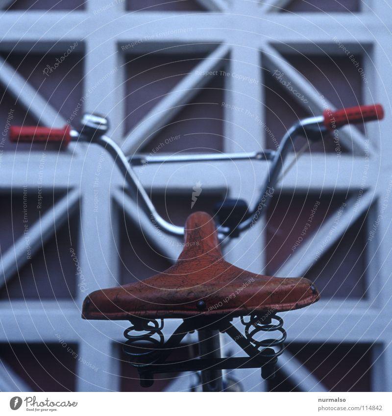 ausgesessen Leder Stoßdämpfer Griff Fahrrad Fahrradständer rot Chrom glänzend Lampe Fahrradlicht Klapprad braun Mauer Geborgenheit Spielen Extremsport obskur