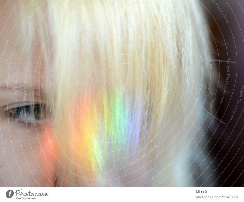 Regenbogenblond schön Haare & Frisuren Mensch Junge Frau Jugendliche Auge 1 18-30 Jahre Erwachsene Pony glänzend mehrfarbig regenbogenfarben Haarfarbe candyhair
