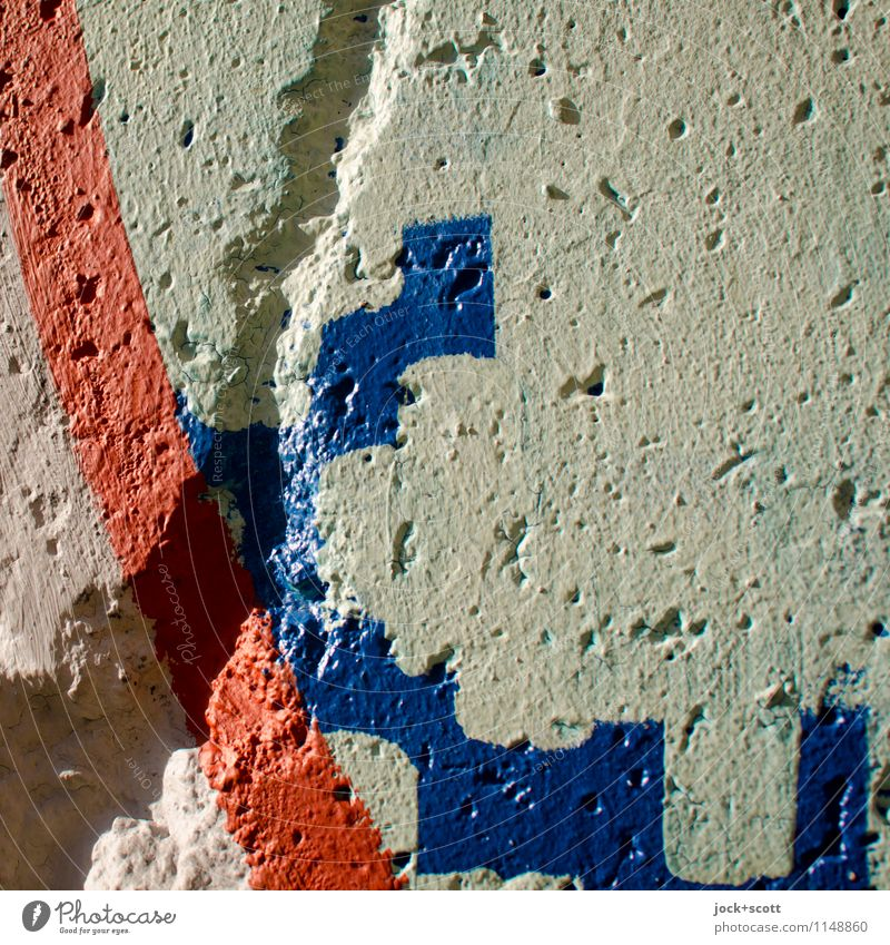 langlebig trotz Mauerspechte Straßenkunst Pinselstrich Berliner Mauer Beton Streifen Kurve ästhetisch authentisch einfach blau grau Kreativität