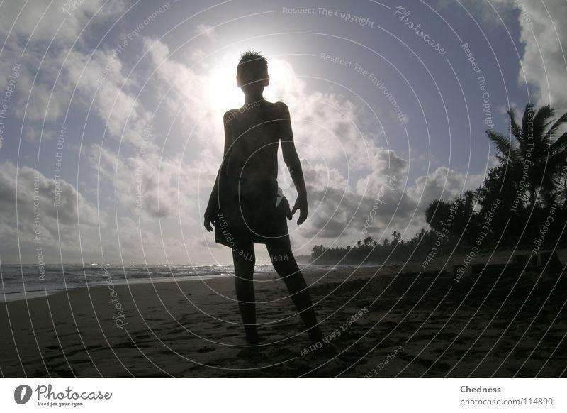 Strandschatten Himmel Wasser blau weiß Meer Wolken Sand Küste Wellen Nebel Asien Palme Gischt Meerwasser Sandburg
