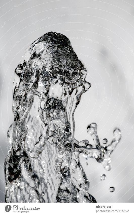 Wassersprudel Wasser kalt nass Wassertropfen Brunnen spritzen Mineralwasser