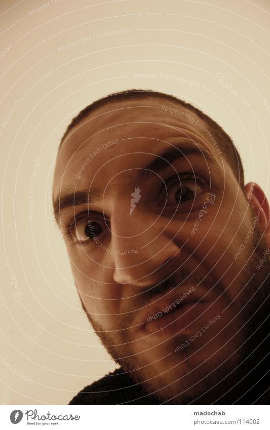 HAPPY BIRTHDAY BABUSCHKA Mann Gesicht Auge Kraft Angst Mund Nase maskulin gefährlich verrückt Macht bedrohlich Wut Bart böse