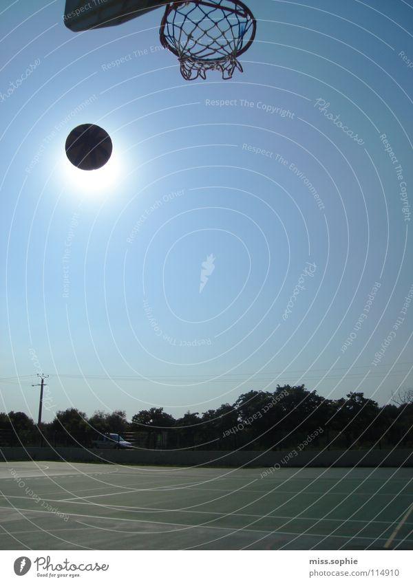 basket Himmel blau Sonne Sommer Freude Einsamkeit Sport Spielen Freiheit Bewegung Freizeit & Hobby frei Erfolg Kreis Ball beobachten