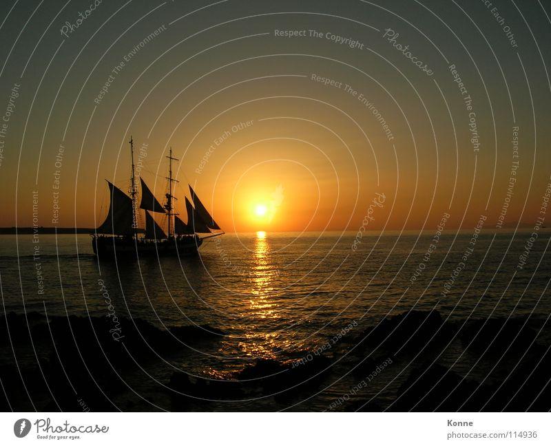 sideStick Wasserfahrzeug Sonnenuntergang Meer Nacht Romantik Schifffahrt See
