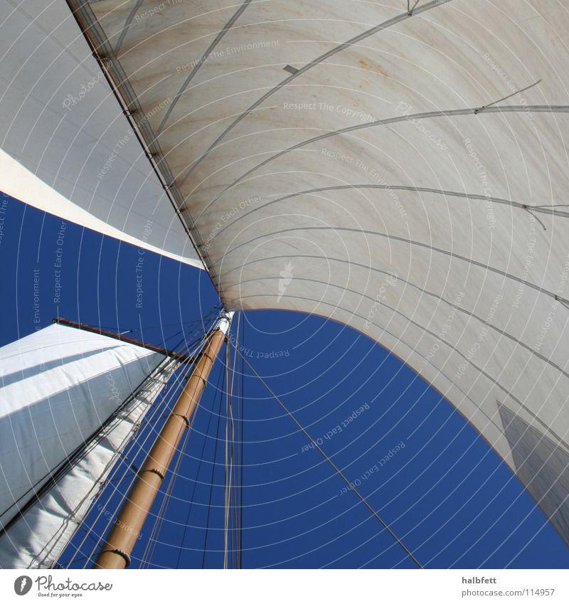Im Wind Segeln Meer Wassersport blau Strommast