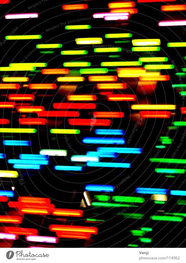 Farbmoleküle mehrfarbig Essstäbchen Dekoration & Verzierung Haus Gebäude Fassade Licht dunkel schwarz Kunst Neonlicht Lampe Zuckerstreusel Streusel Werbung