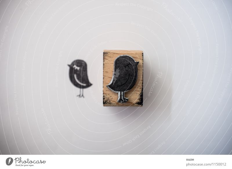 ReTweet Lifestyle Stil Design Glück Freizeit & Hobby Basteln Medien Vogel Schreibwaren Papier Stempel einfach klein lustig niedlich schwarz Stimmung Idee