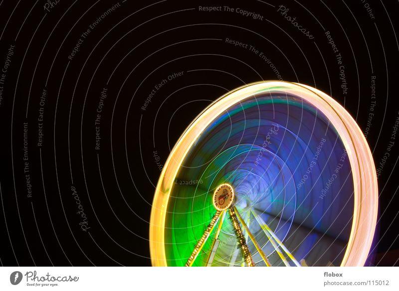 Ferris Wheel Riesenrad Karussell drehen mehrfarbig Nacht Jahrmarkt Attraktion Wahrzeichen Weihnachtsmarkt Fahrgeschäfte Schausteller Stahl rund groß Licht
