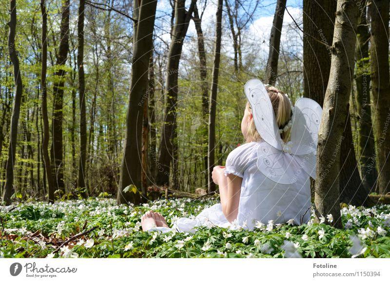 Frühlingselfe Mensch feminin Kind Mädchen Kindheit Körper Haut Kopf Haare & Frisuren Rücken Arme Fuß 1 Umwelt Natur Landschaft Pflanze Himmel Wolken