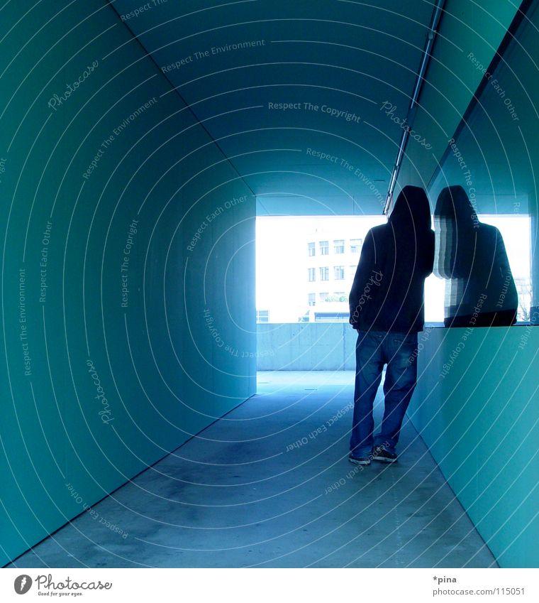 stay Mann dunkel Architektur Denken Rücken warten maskulin planen stehen Bild Ziel Spiegel mystisch Halt Selbstportrait Gang