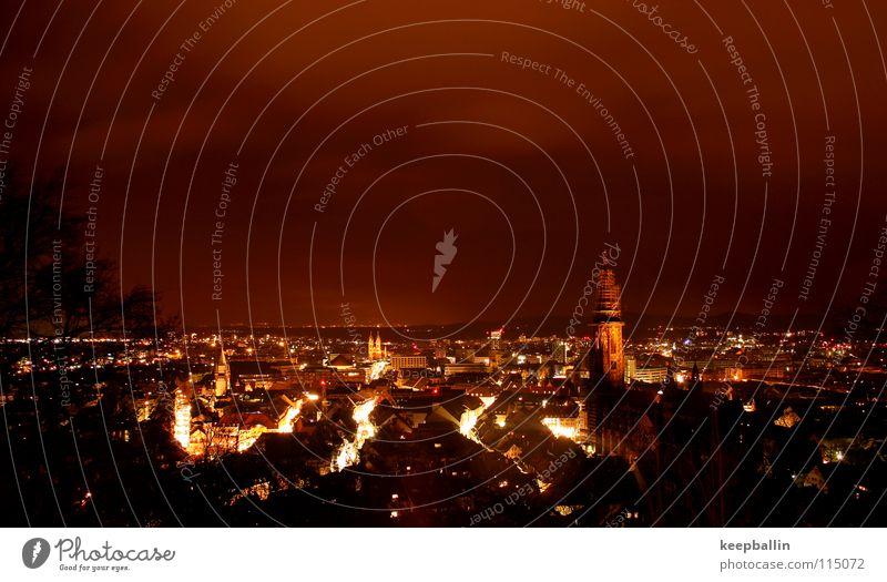 freiburg Stadt Nacht Haus Winter dunkel Himmel Freiburg im Breisgau Licht Lampe Abend Münster Blick