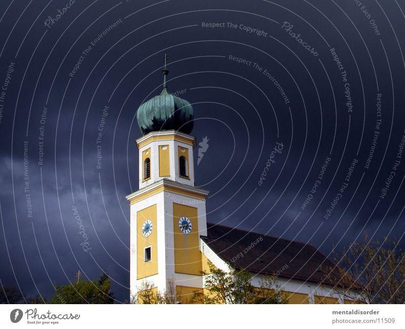 da wo die welt noch in Ordnung ist 1* Himmel gelb Religion & Glaube Turm Uhr Gewitter Bayern Glocke Gotteshäuser