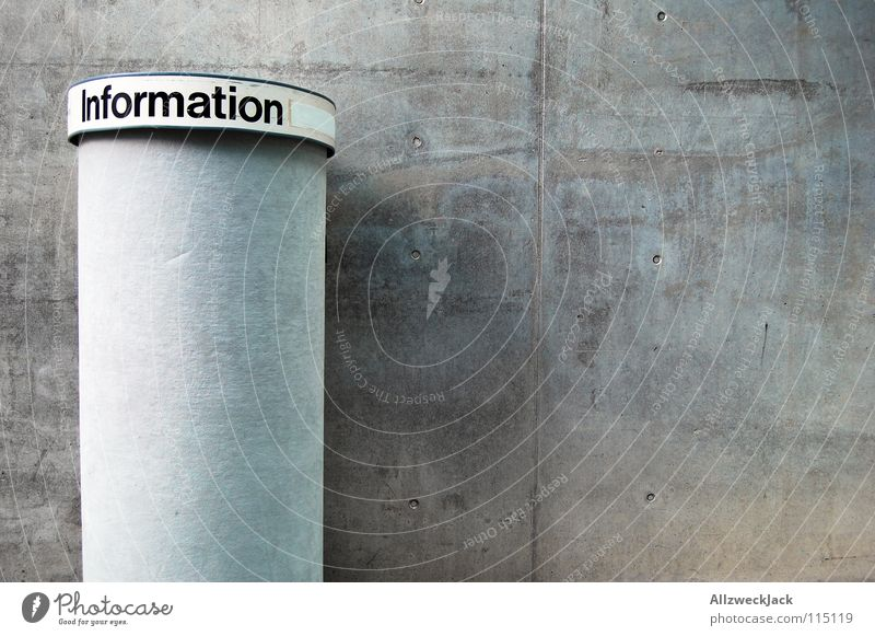 Informationsmangel Tafel Wand grau Mauer Beton frei leer neu Werbung Dienstleistungsgewerbe Hinweisschild Messe Säule Ausstellung Börse