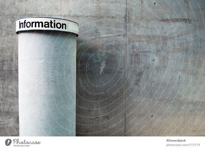 Informationsmangel Tafel Wand grau Mauer Beton frei leer neu Information Werbung Dienstleistungsgewerbe Hinweisschild Messe Säule Ausstellung Börse